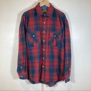 Eddie Bauer Vintage Plaid Wool Flannel Button Down